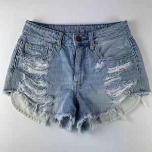 American Eagle Sz 0 Shorts Jean Distressed Holes